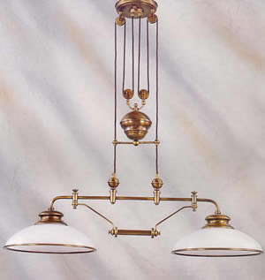 ELK 6671/2 Classic Pulldown 2 Light Island Pendant Antique Brass