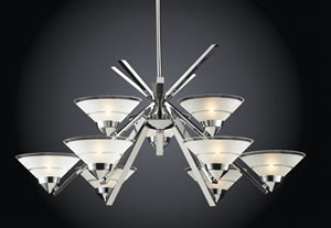 ELK 1476/6+3 Refraction 9 Light Chandelier In Polished Chrome Shown In Etched Clear Glass