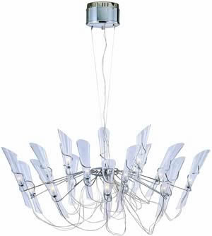 Lite Source LS-18218C/CLR Sophia 18 Light Chandelier Chrome With Clear Glass Shade