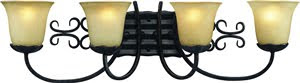 Z-Lite 402-4V Spanish Forge 4 Light Vanity Black/Antique Gold