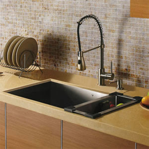 Vigo VG15009 Undermount Single Bowl Stainless Steel Kitchen Sink With Faucet, Dispenser & Colander
