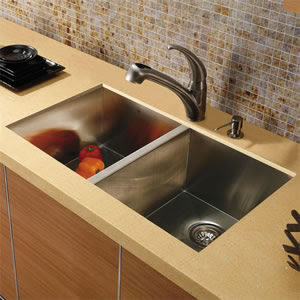 Vigo VG15018 Undermount Double Bowl Stainless Steel Kitchen Sink With Faucet & Dispenser