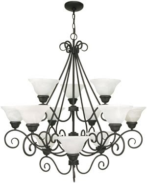 Nuvo 60-377 Castillo 12 Light Chandelier 3 Tier With Alabaster Swirl Glass Textured Flat Black
