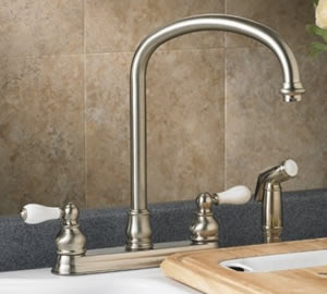 American Standard 4771.712 Hampton Kitchen Faucet With Side Spray & Porcelain Lever Handles