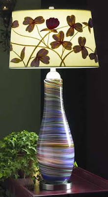 Lite Source LS-20519 2 Light Art Glass Table Lamp With Night Light, Purple Swirl