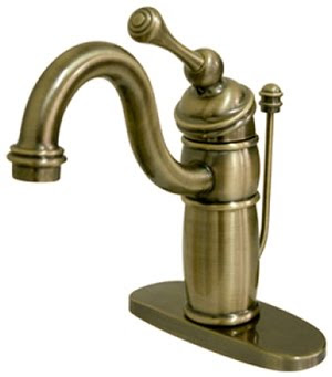 Kingston Brass KB1403BL Victorian Heritage Classic Mono Deck Bathroom Sink Faucet With Buckingham Lever Handle - Vintage Brass