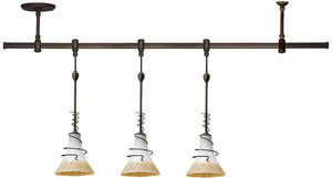 Sea Gull 94512-71 Ambiance 3 Light Saratoga Pendant Rail Kit Antique Bronze / Ember Glow