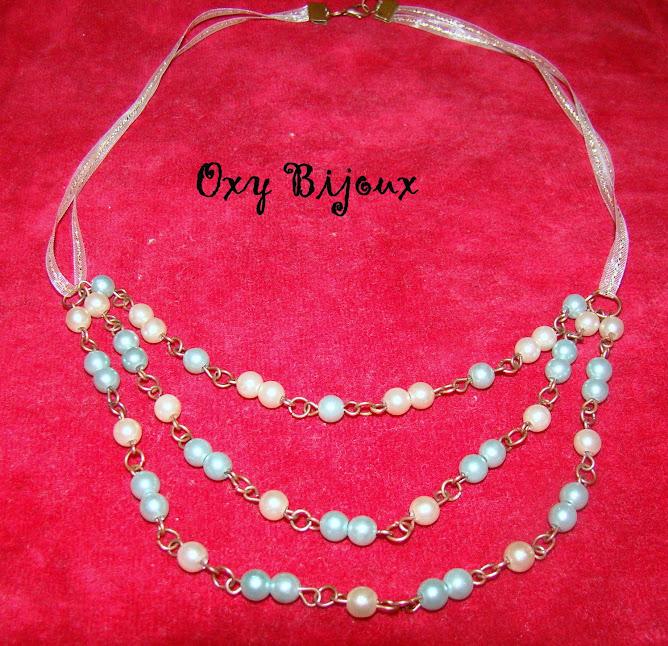 Colier perle crem-verde (Co10)-pret 10 ron