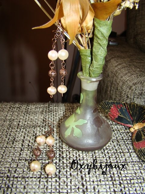 Cercei perle naturale culoarea somon si accesorii aramii-22 ron