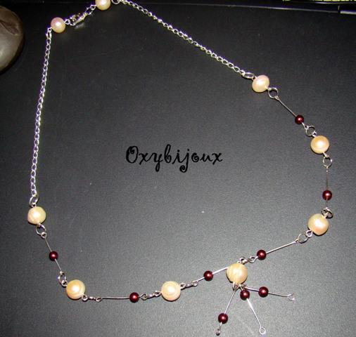 Colier perle naturale culoarea somon si accesorii argintate-23 ron-VANDUT