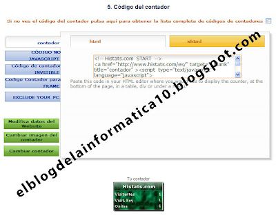 código HTML para insertar en blog o web