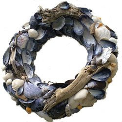 Nautical, sea shell themed wreath for home decorating