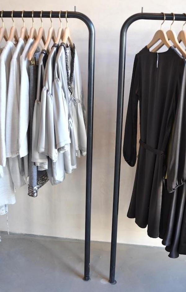 chris french metal clothing rails at Erica Tanov shop