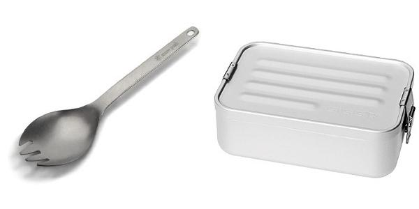 Snow Peak Titanium Spork and Sigg Aluminum Mini Lunchbox