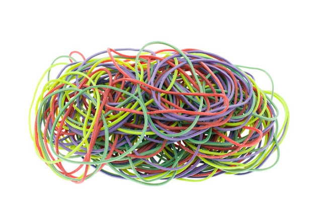 Placing a rubber band around a