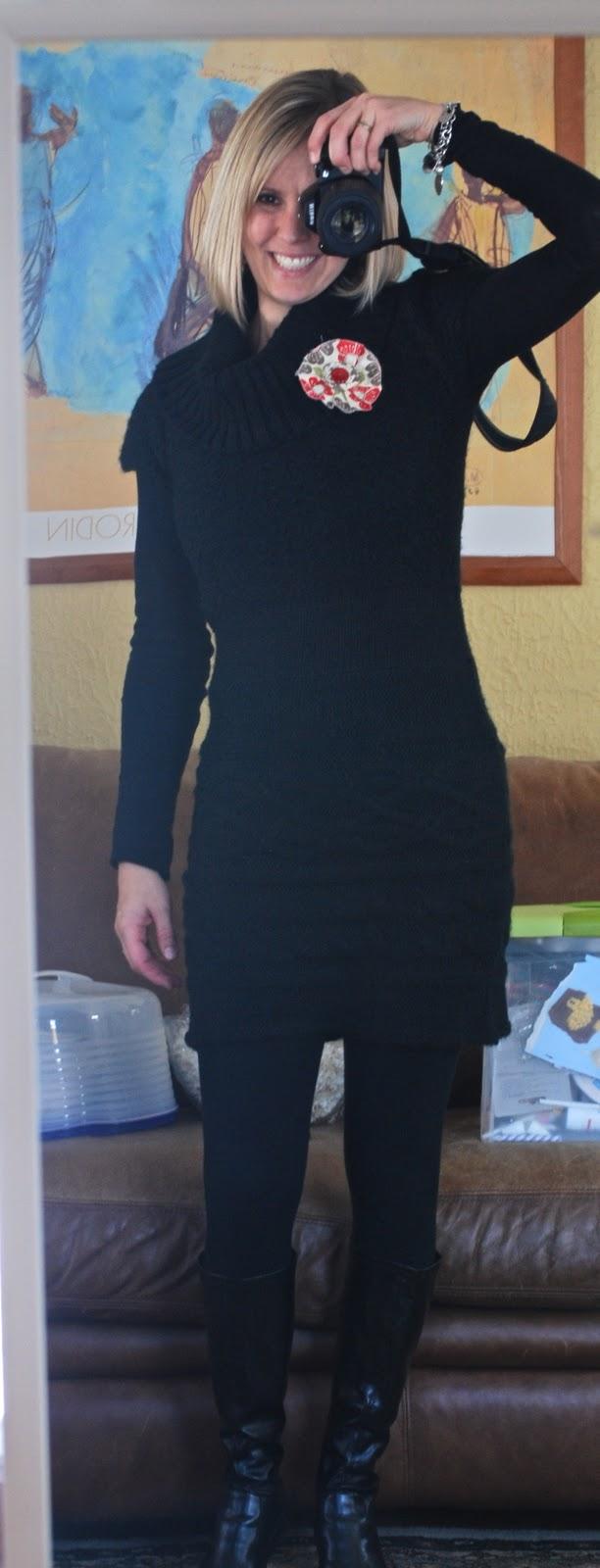 Sweater Dress: Kohls, Leggings: Target, Black Shirt: Target, Bracelets:  Tiffany & Co, & My Charm Bracelet Since I Was A Kid, Flower: Eisley Rae,