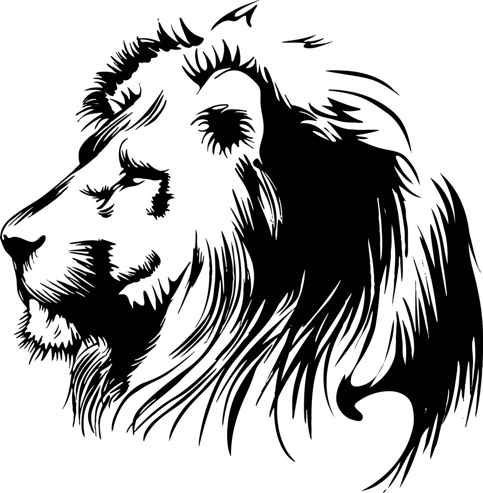 Line Drawing Lion Head : Vectorian art lion head vectorfree download free