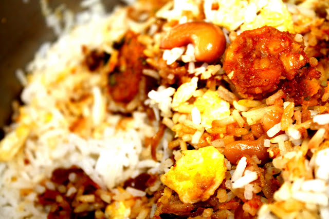 Hyderabadi shrimp biryani