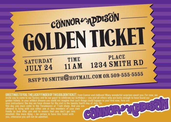 Willy Wonka Golden Ticket Invitation Template - Free ...
