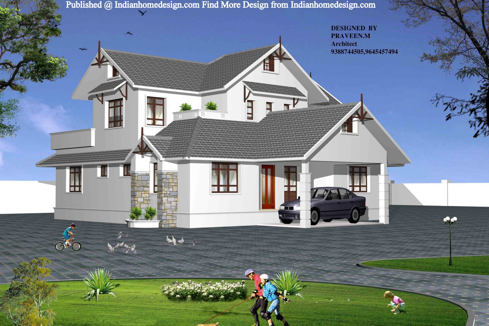 Most modern single houses for Beautiful houses pictures in kerala