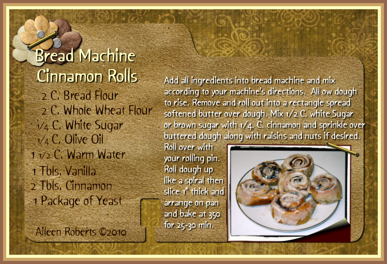 Bread Machine Cinnamon Rolls Recipe Card