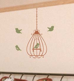 scrolled bell birdcage wall decal