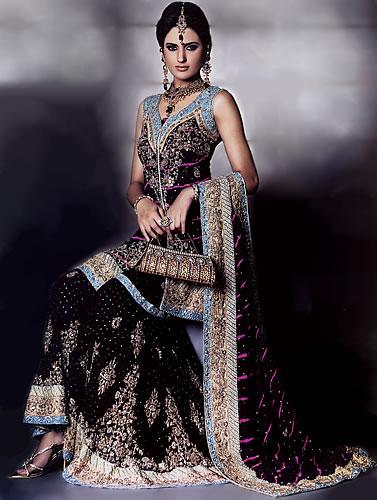 Black Pakistani Wedding Dresses Black Sharara - Pakist...