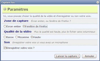 Extension Capture fox pour Firefox - options 1