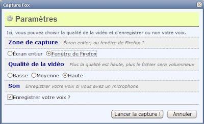 Extension Capture fox pour Firefox - options 1