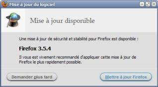 Mise à jour Firefox 3.5.4 - Update
