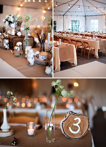 wood and organic wedding decorations