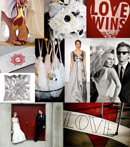 Wedding Inspiration Board Red Black Modern