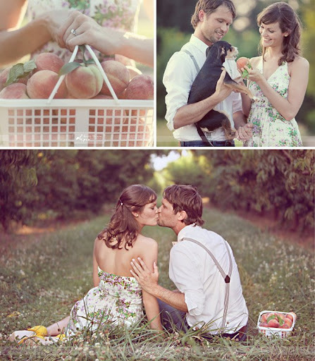 vintage inspired engagement session with peaches