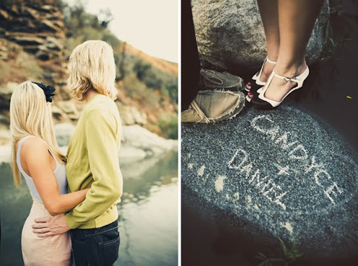 engagement photos riverside California in a river