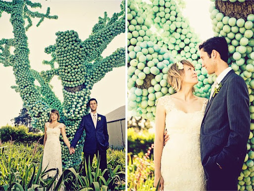tree with green balls wedding portrait