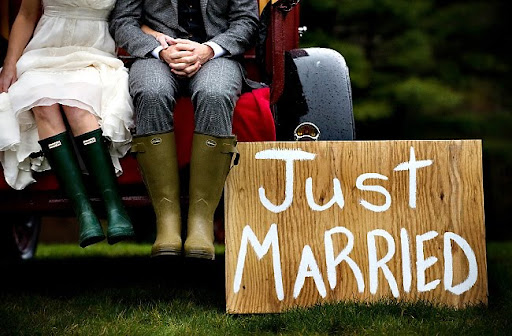 just married wooden sign galoshes