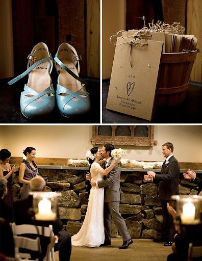 indoor wedding ceremony blue shoes