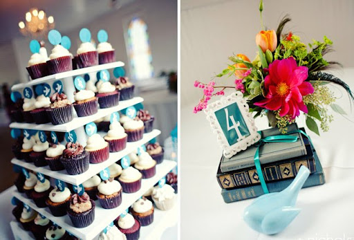 vintage books as table numbers for wedding reception