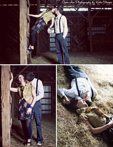 winter engagement with snow and barn