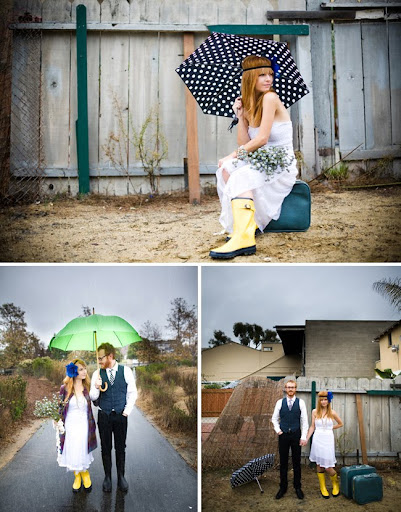wedding dress with rain boots