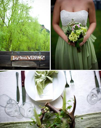 antler wedding Colorado green dress