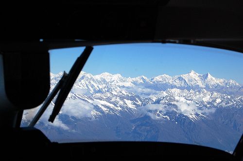 mountain view from cockpit