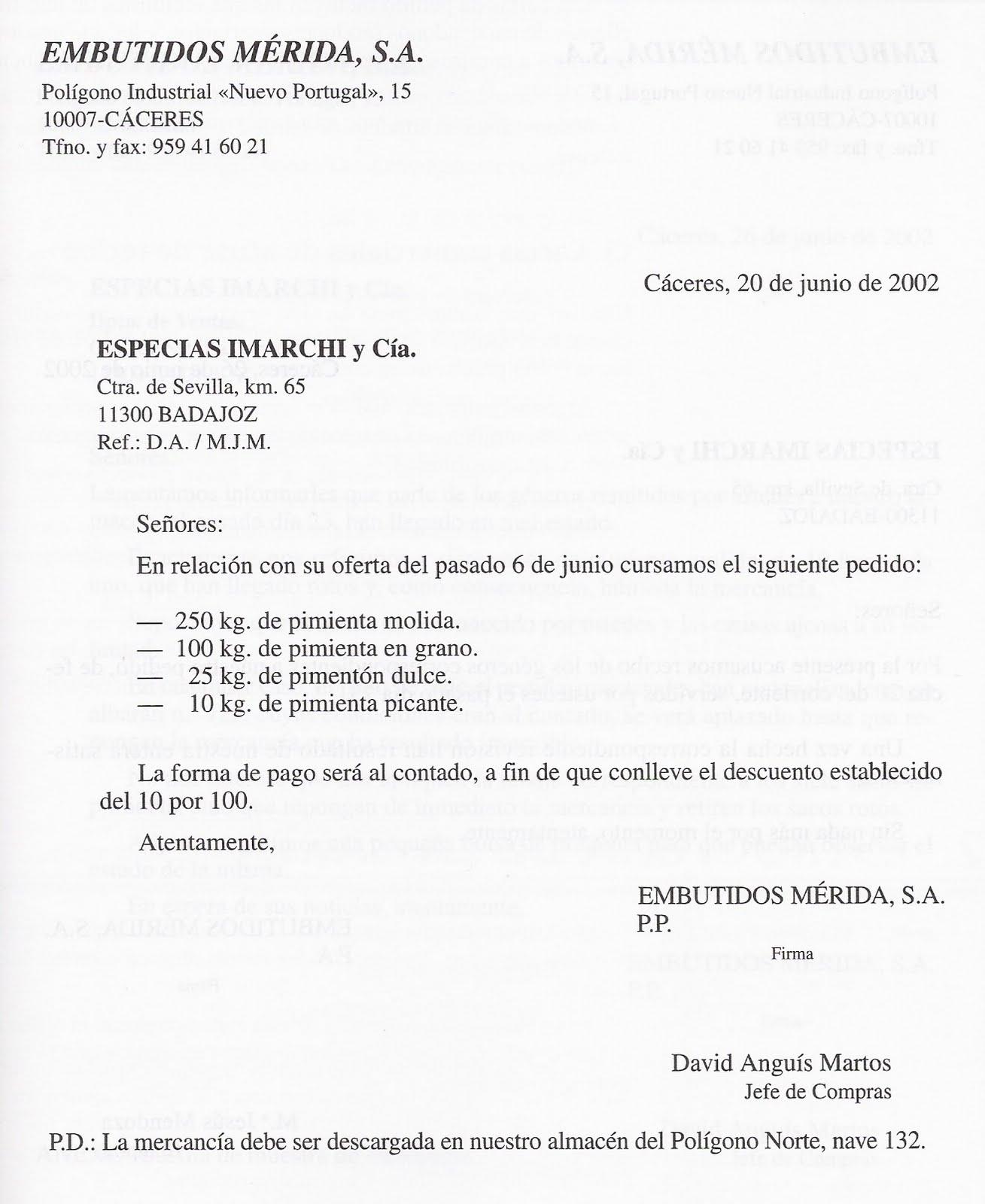 ejemplos cartas de pedido