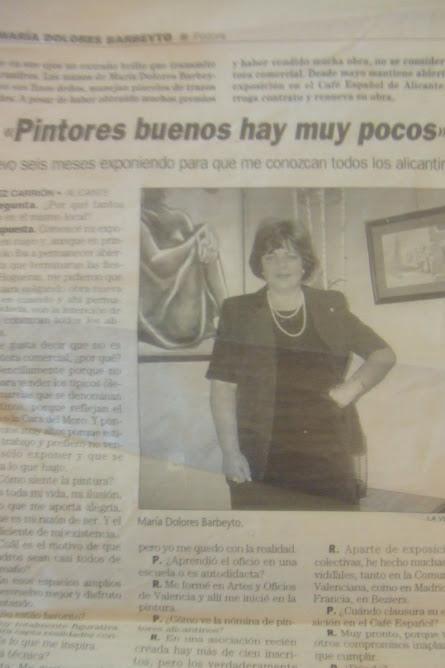 """DIARIO """"LAS PROVINCIAS""""-EXPOSICION DE BARBEYTO EN EL CAFE ESPAÑOL DE LAS ARTES-ALICANTE"""
