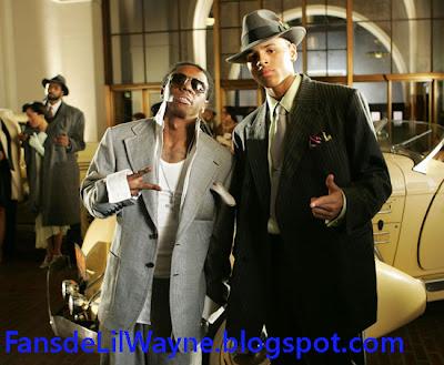 Imagen de Lil Wayne y Chris Brown en el rodaje de Gimme That