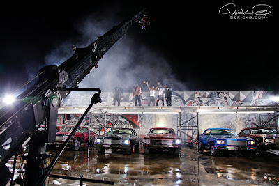 Imagen de T-Pain, Dj Khaled, Plies, Lil Wayne y Birdman en el rodaje del video de Welcome To My Hood del nuevo disco de Dj Khaled We The Best Forever