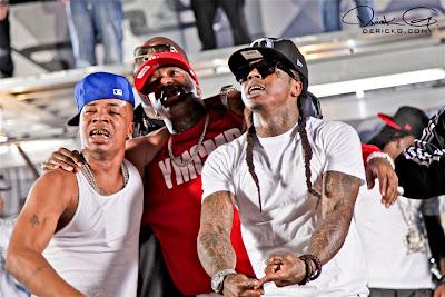 Imagen de Plies, Birdman y Lil Wayne en el rodaje del video de Welcome To My Hood del nuevo disco de Dj Khaled We The Best Forever