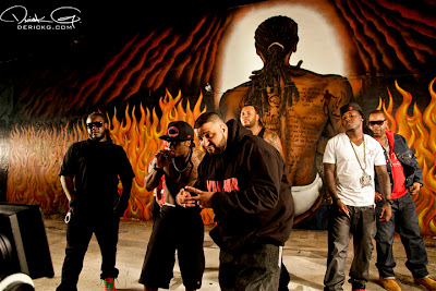 Imagen de T-Pain, Lil Wayne, Dj Khaled, Flo Rida y Ace Hood en el rodaje del video de Welcome To My Hood del nuevo disco de Dj Khaled We The Best Forever