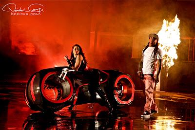 Imagen de Lil Wyne en el rodaje del video de Fire Flame Remix del disco Like Father, Like Son II