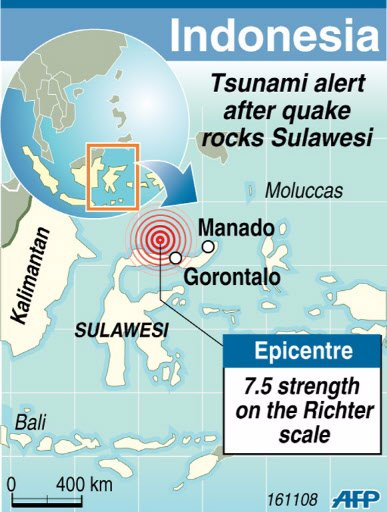Tsunami warning after an earthquake in Indonesia